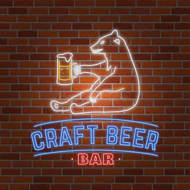Bière au néon de métier d'enseigne avec l'ours illustration libre de droits