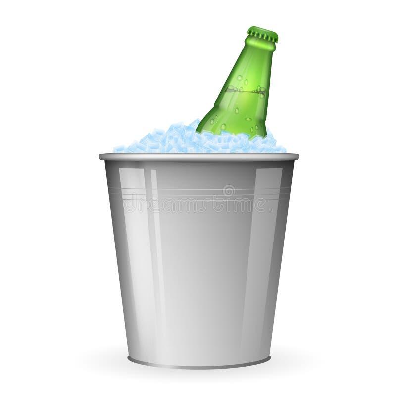 Bière avec de la glace dans le seau en métal sur le vecteur blanc illustration stock