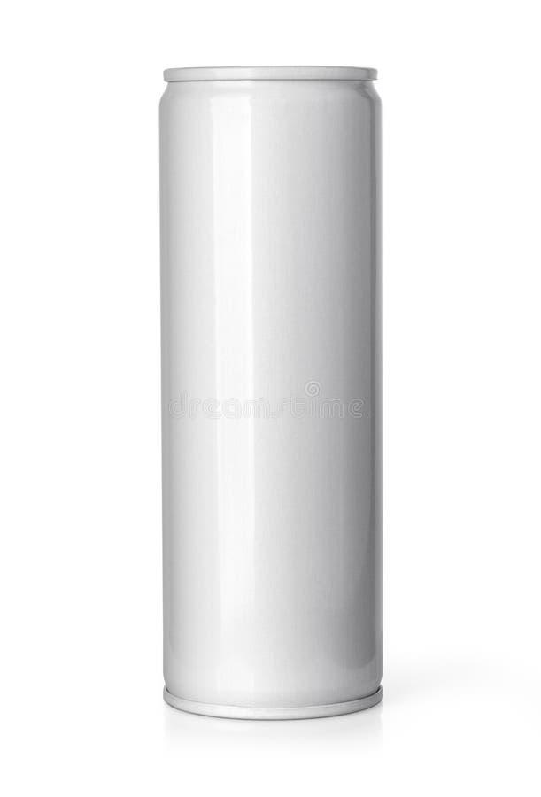 Bière d'aluminium en métal ou boîte de soude vide d'isolement sur le blanc photos libres de droits