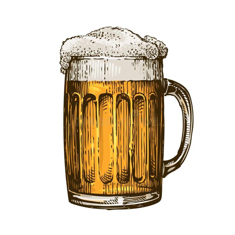 Bière dans la tasse en verre avec la mousse Illustration tirée par la main de vecteur illustration de vecteur