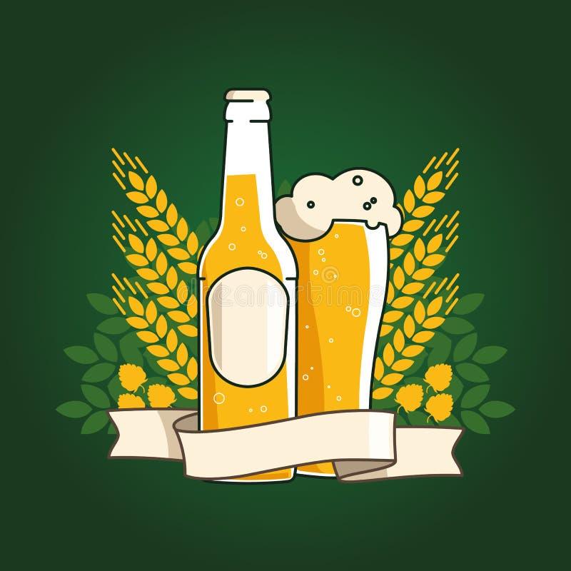 Bière de blé Bouteille et verre à bière avec de la bière et le ruban Oreilles de blé et des houblon Illustration de vecteur pour  illustration libre de droits