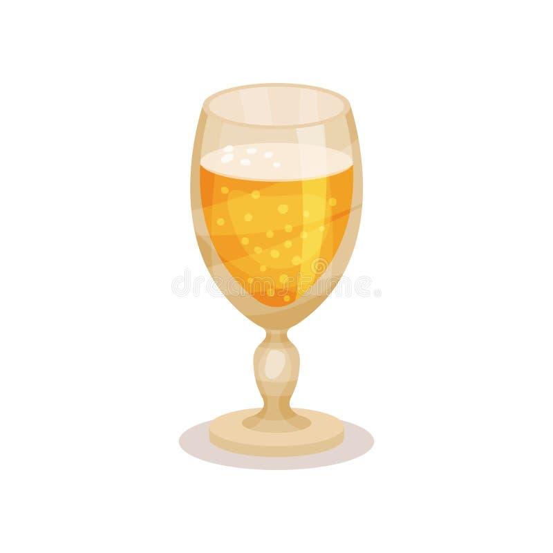 Bière de blé en verre de tige Boisson alcoolisée savoureuse Élément plat de vecteur pour faire de la publicité l'affiche ou la ba illustration de vecteur