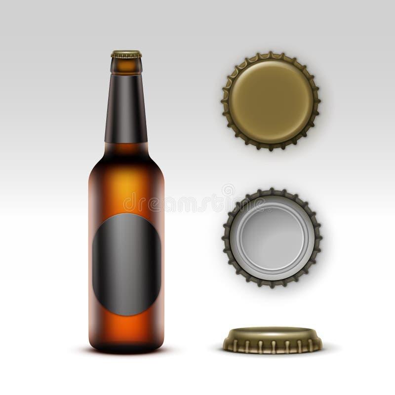 Bière de bouteille de Brown avec le label et l'ensemble noirs de chapeaux illustration libre de droits