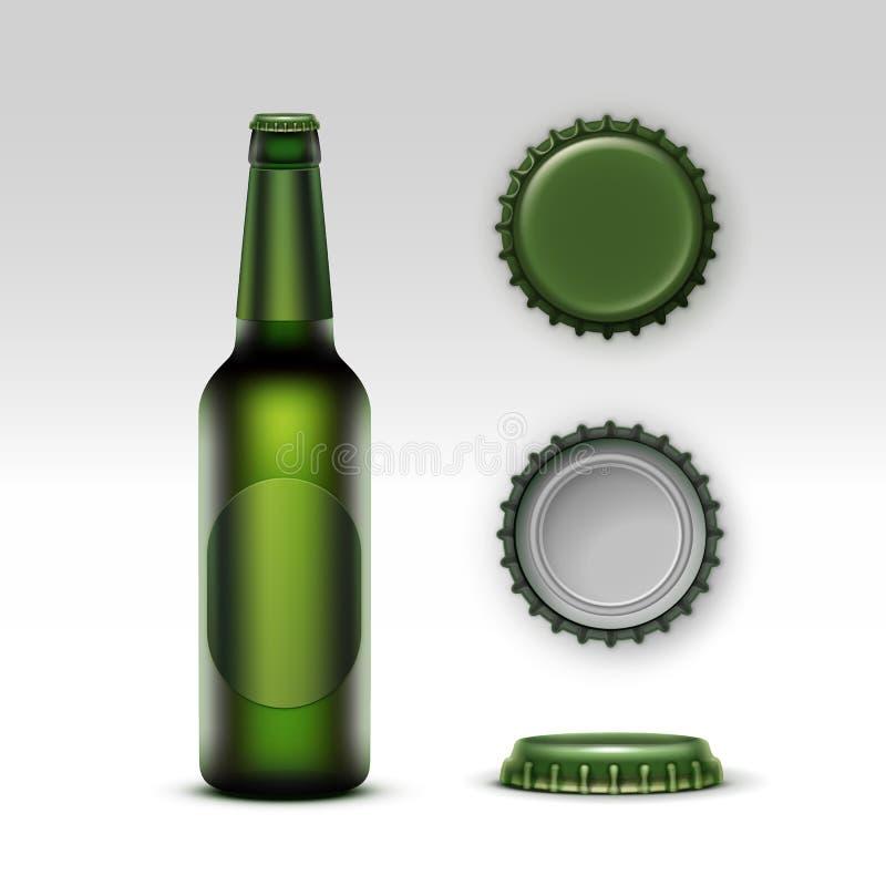Bière de bouteille de Creen avec le label et l'ensemble verts de chapeaux illustration stock