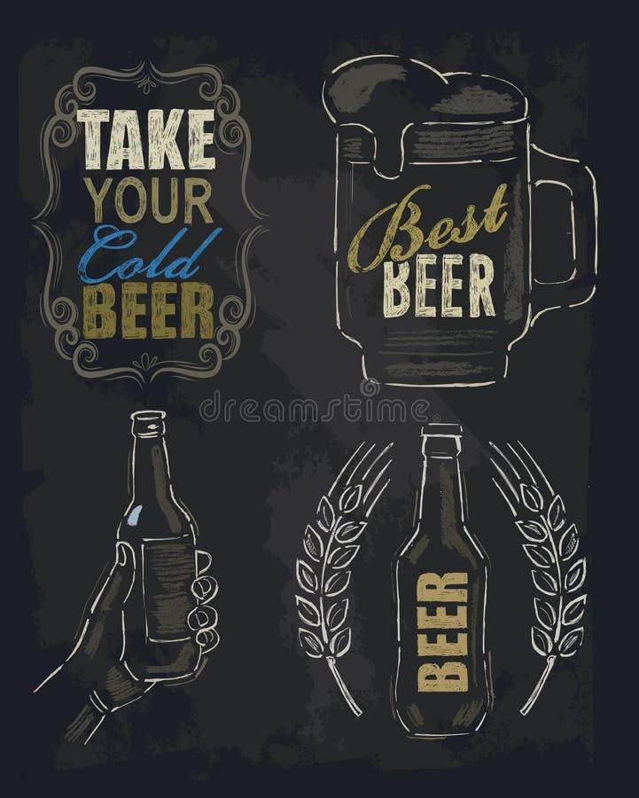 Bière de craie illustration de vecteur