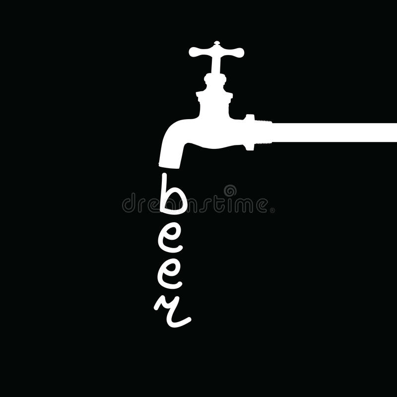 Bière de fontaine sur le noir illustration de vecteur