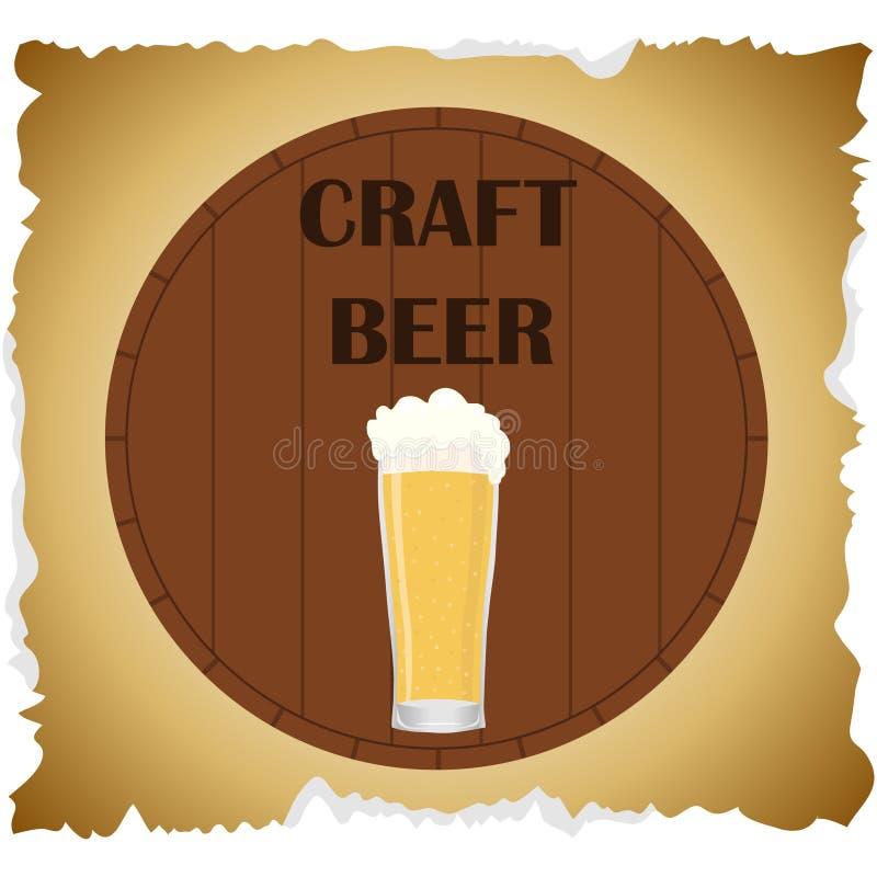 Bière de métier Bière de papier d'emballage de bannière Un verre de bière sur le fond d'un baril de chêne illustration libre de droits