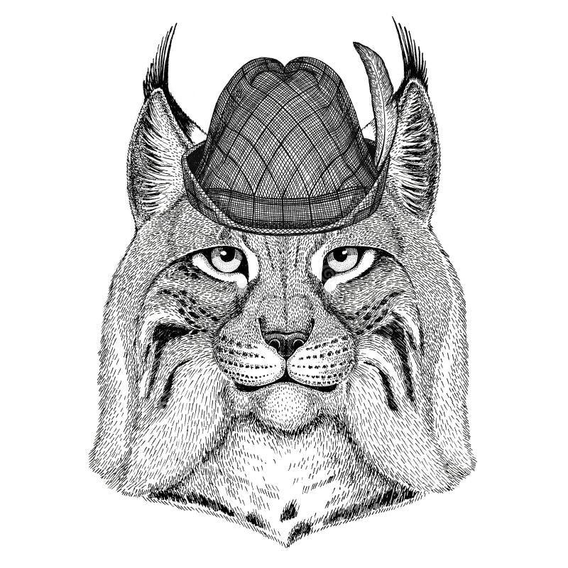 Bière de port animale sauvage de Bavarois d'illustration de fest de bière de festival d'automne d'Oktoberfest de chapeau de Lynx  illustration de vecteur