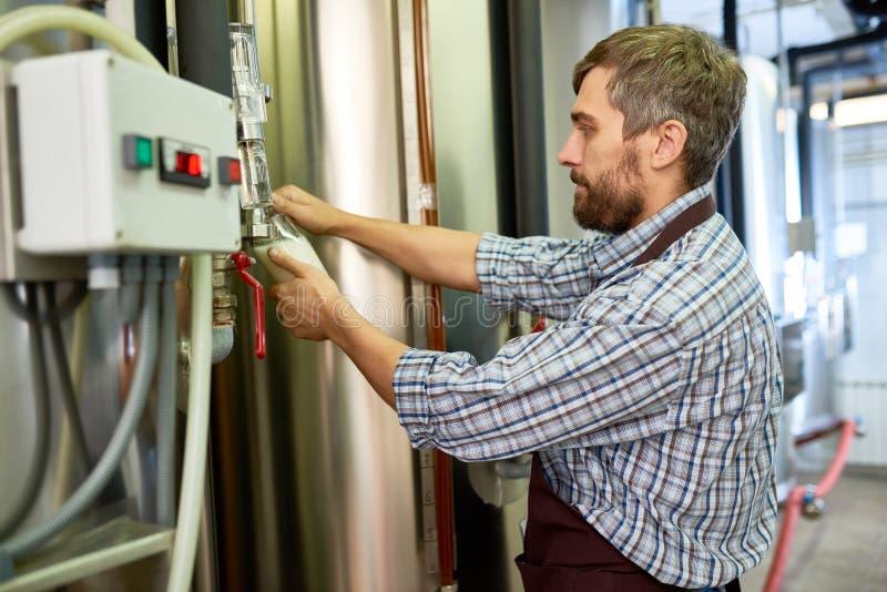 Bière de versement d'ingénieur occupé de bière pour l'examiner à l'usine photo libre de droits