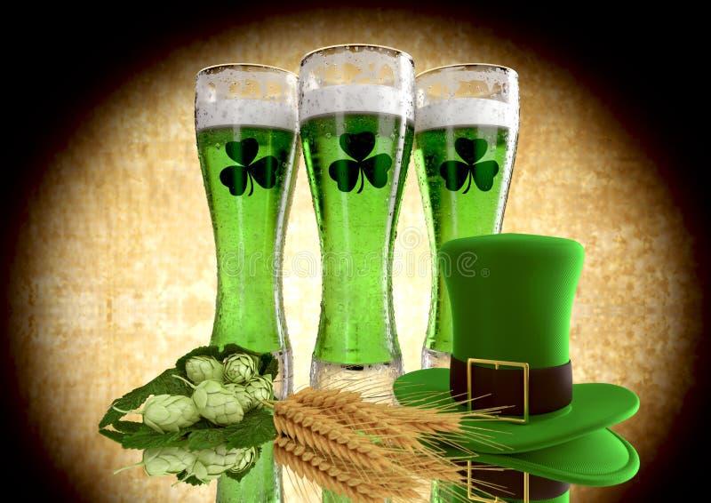 Bière de vert de concept du jour de St Patrick avec l'oxalide petite oseille 3d rendent illustration de vecteur