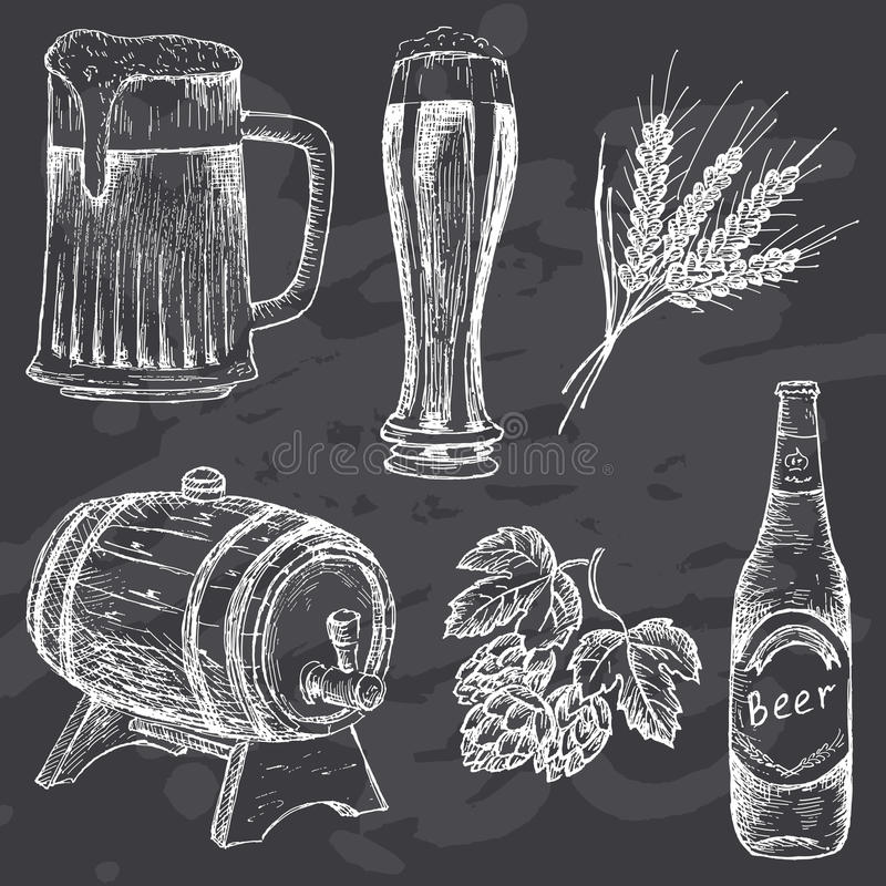 Bière de vintage sur le panneau de craie illustration libre de droits