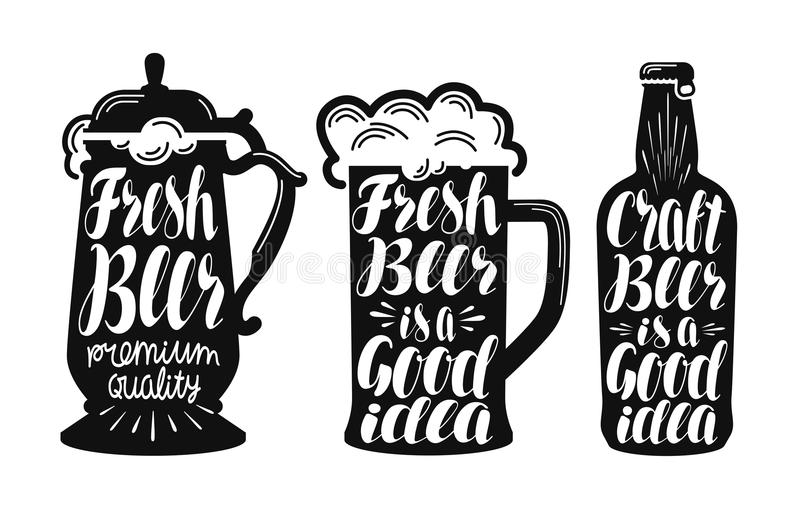 Bière, ensemble de label de bière anglaise Brassez, buvez, attaquez, icône de bouteille ou symbole Illustration manuscrite de vec illustration stock