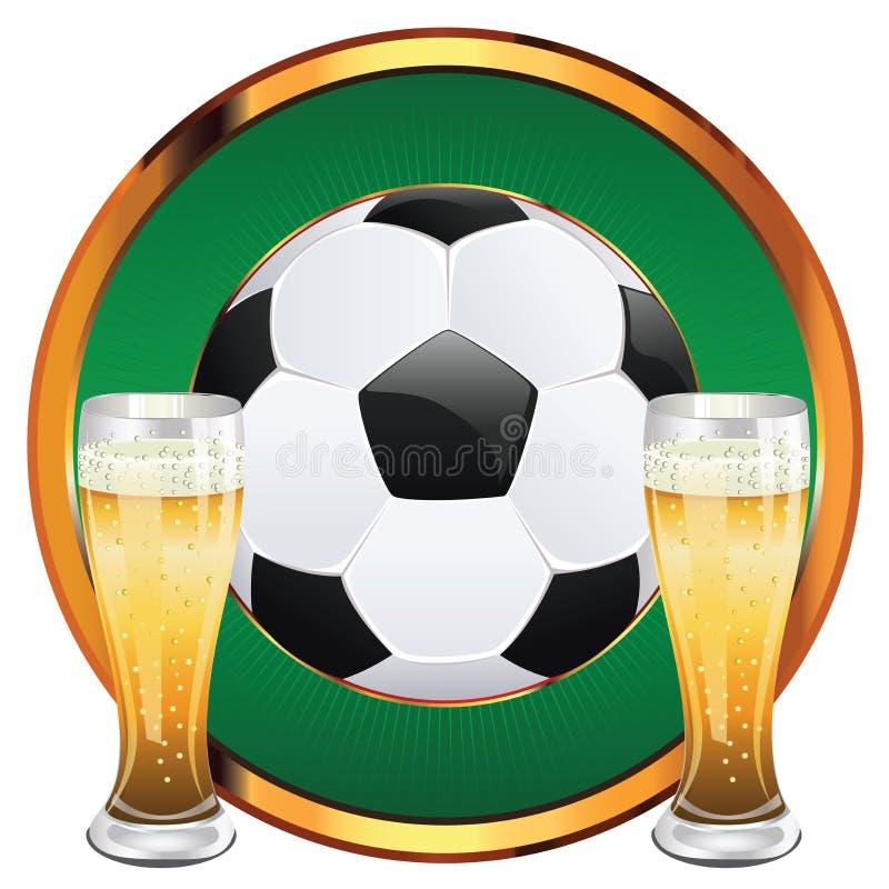 Bière et ballon de football illustration de vecteur