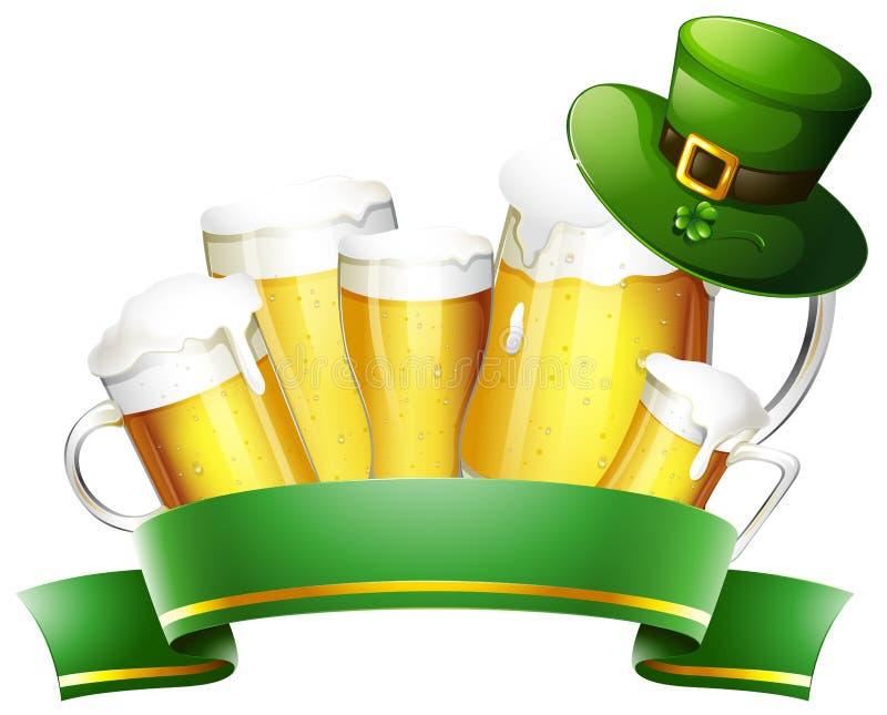 Bière fraîche et bannière verte illustration libre de droits
