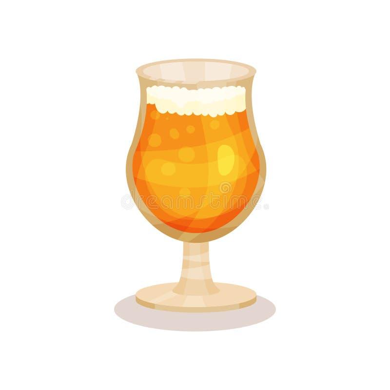 Bière froide de blé en verre de tige Boisson alcoolisée Élément plat de vecteur pour l'affiche de partie, le bar ou le menu de ca illustration libre de droits