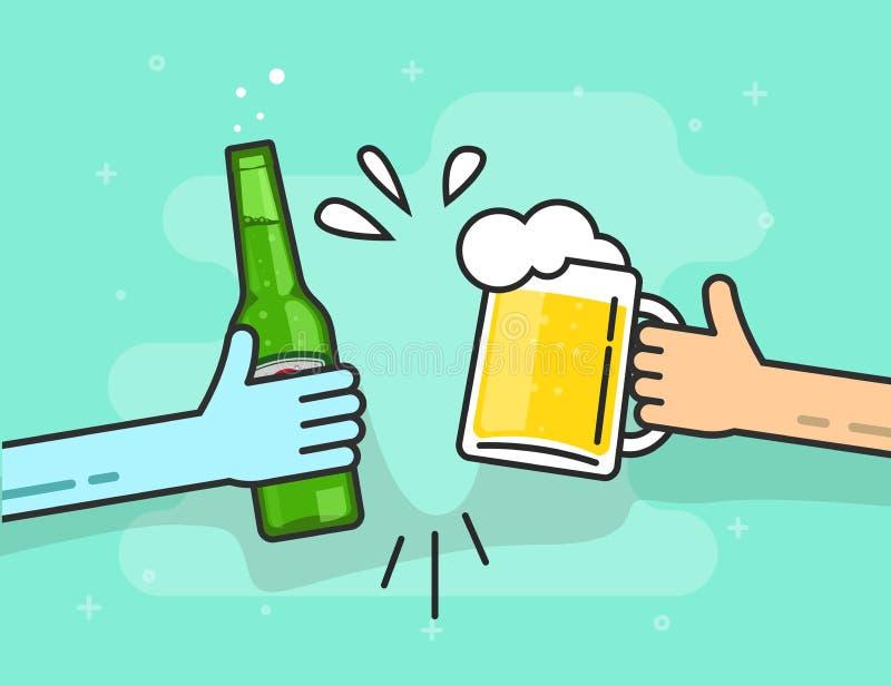 Bière grillant le vecteur sur le fond bleu, mains tenant des verres illustration libre de droits