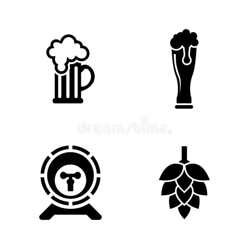 Bière Icônes relatives simples de vecteur illustration libre de droits