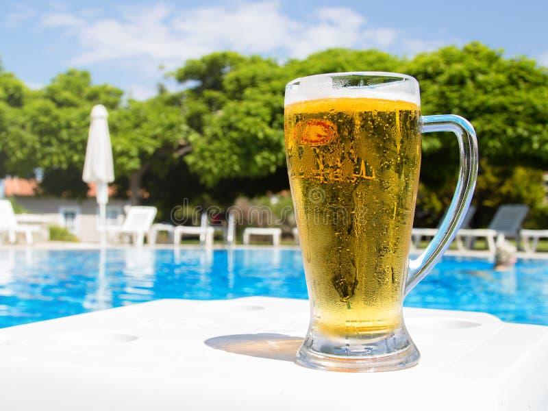 Bière par la piscine images libres de droits