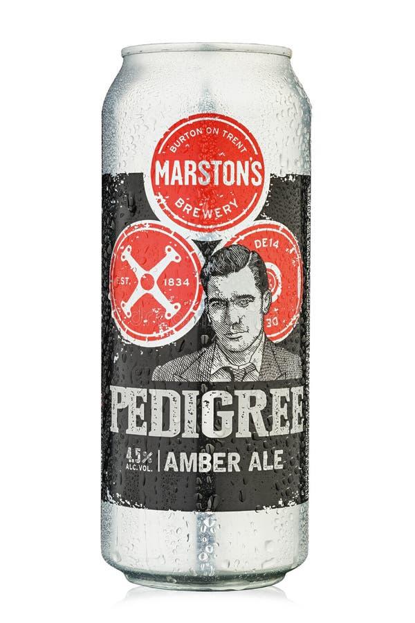 Bière Pedigree du producteur Marston's, Royaume-Uni Ale d'Angleterre Isolé sur blanc Chemin d'accès de découpage photographie stock