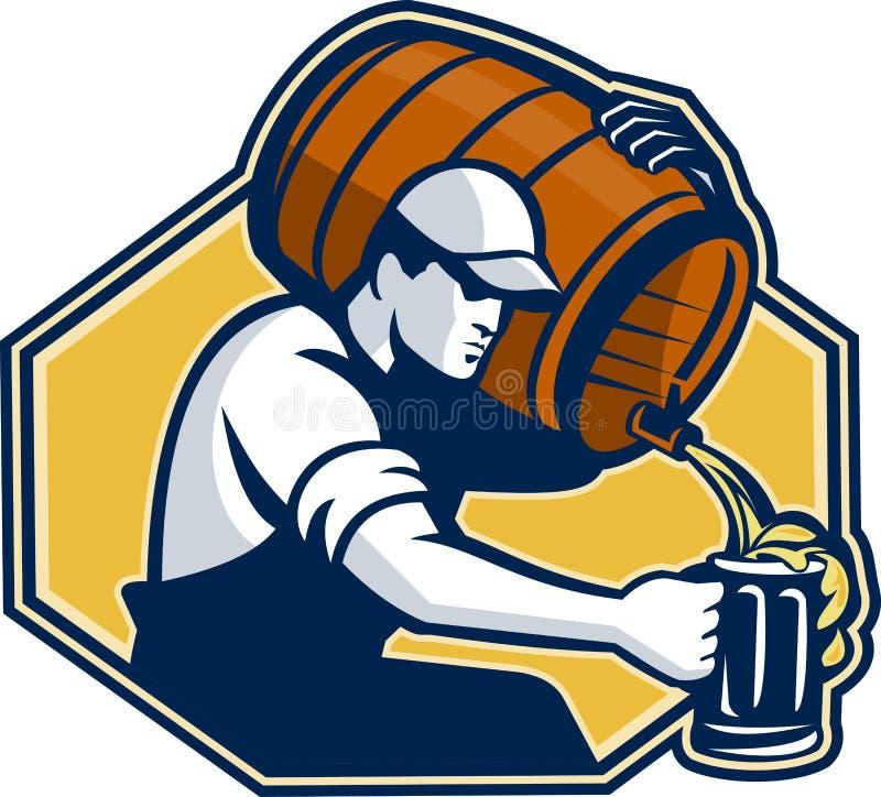 Bière pleuvante à torrents d'ouvrier de barman du baril à attaquer illustration stock