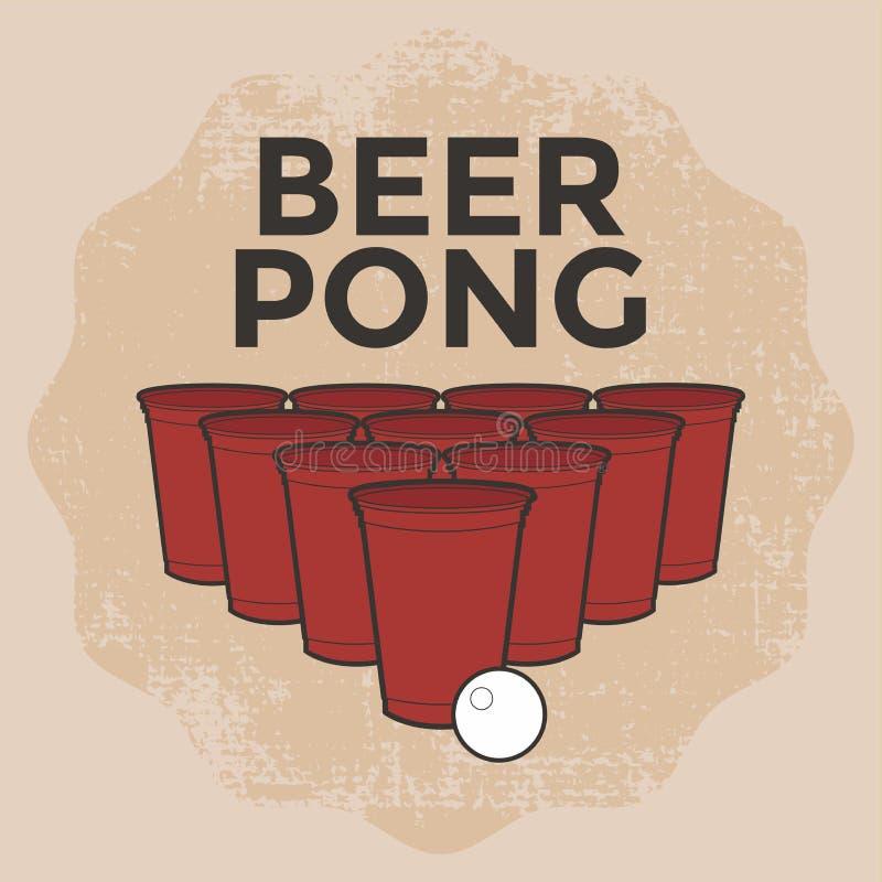 Bière Pong Drinking Game illustration libre de droits