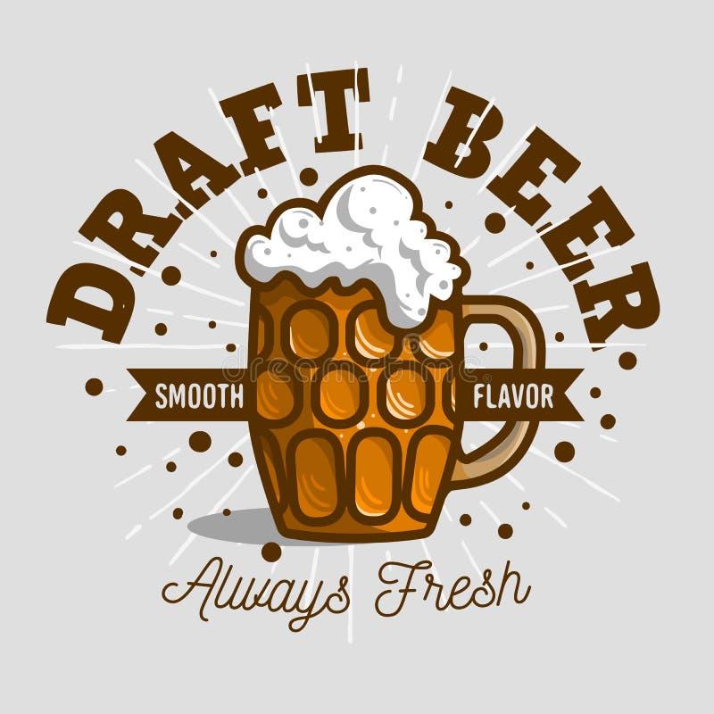 Bière pression Logo Label Design With une tasse ou un Krug de bière avec illustration libre de droits