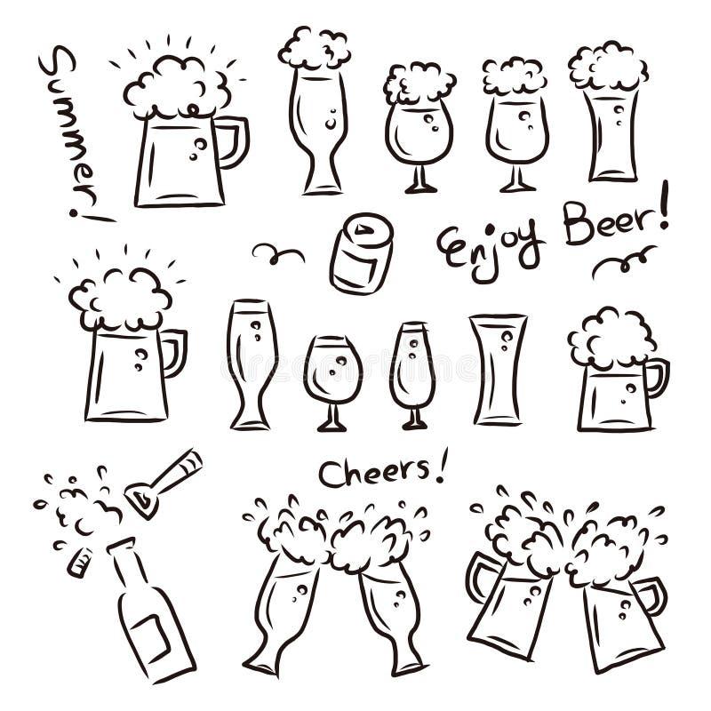 Bière pression versée dans des tasses de bière et des verres/image de partie et d'été illustration libre de droits