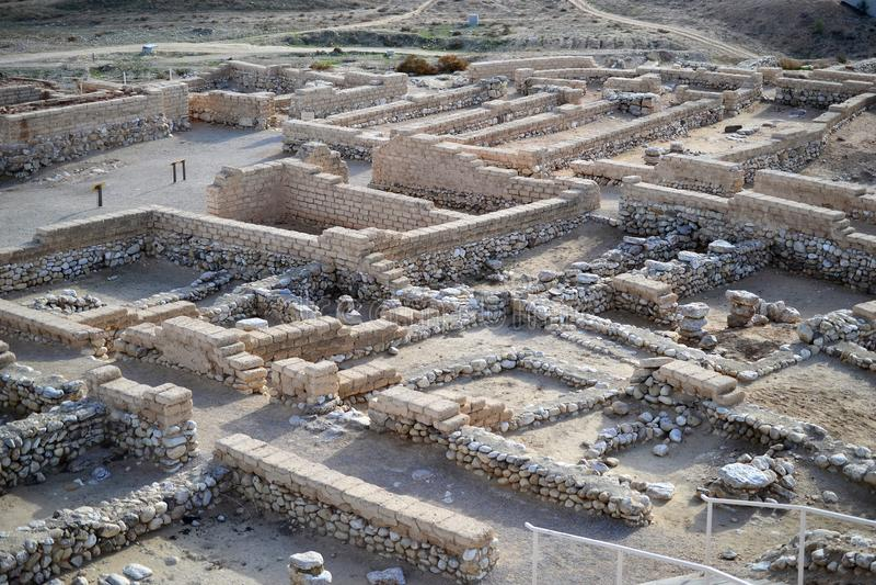 Bière Sheba, bière Sheva, site archéologique de Beersheva, ruines de téléphone de la ville antique, Israël, désert du Néguev images stock