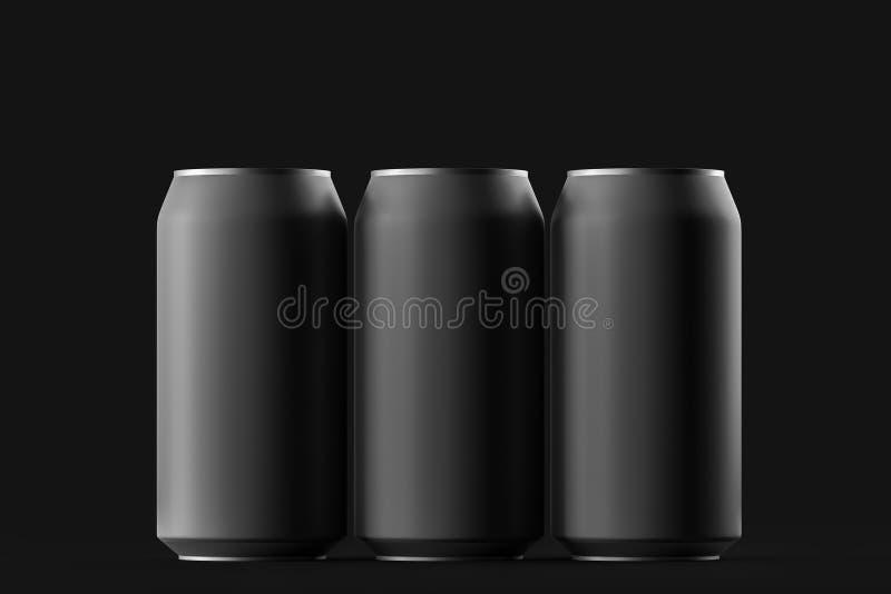 Bière vide, kola, maquette noire en aluminium de boîte de soude sur le fond Avec l'endroit pour votre conception et marquage à ch illustration libre de droits