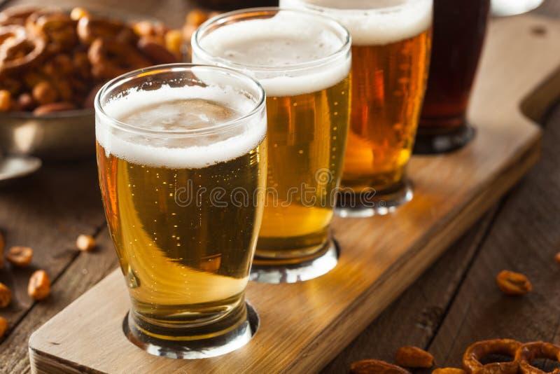 Bières assorties dans un vol image stock