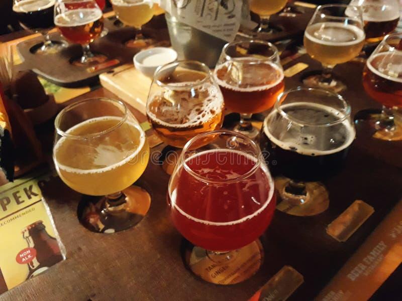 Bières assorties dans un vol prêt pour la dégustation images libres de droits