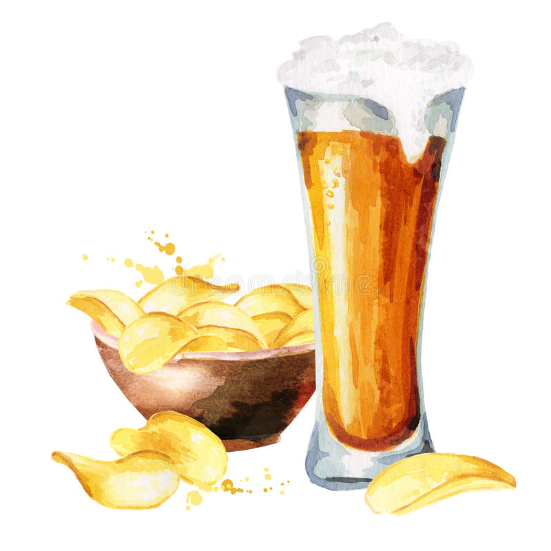 Bières et chips watercolor illustration de vecteur