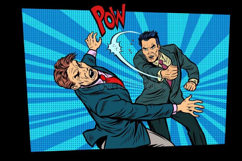 Bić dwa walczących mężczyzna, silny poncz ilustracji