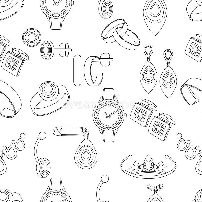 Biżuteria bezszwowy wzór, wektorowy tło, czarny i biały monochromatyczna ilustracja Konturowe dekoracj rzeczy na białym tle ilustracji