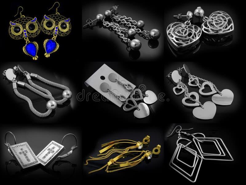 Biżuteria kolczyki 375 magna stal nierdzewna 04 fotografia stock