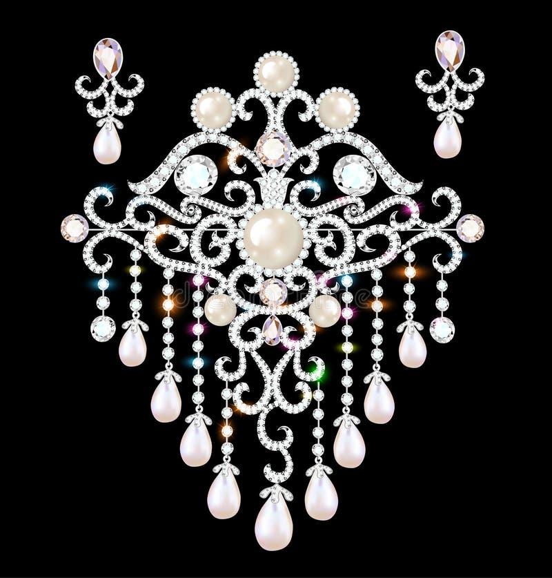 biżuteria kolczyki z cennymi kamieniami i broszka royalty ilustracja