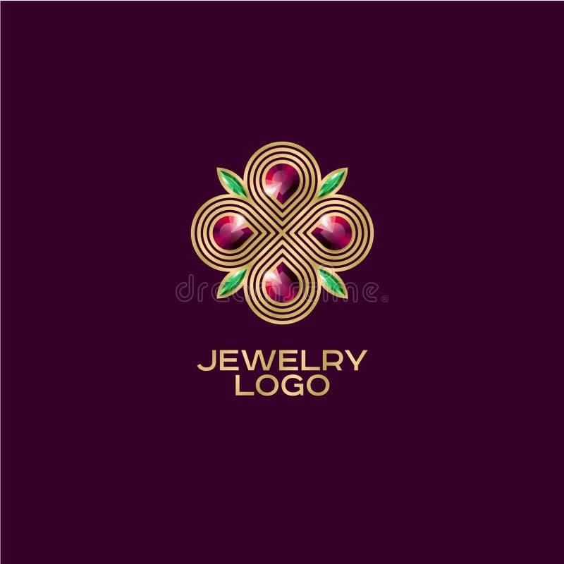 Biżuteria logo Złota postać z zielonymi i czerwonymi klejnotami na ciemnym tle royalty ilustracja