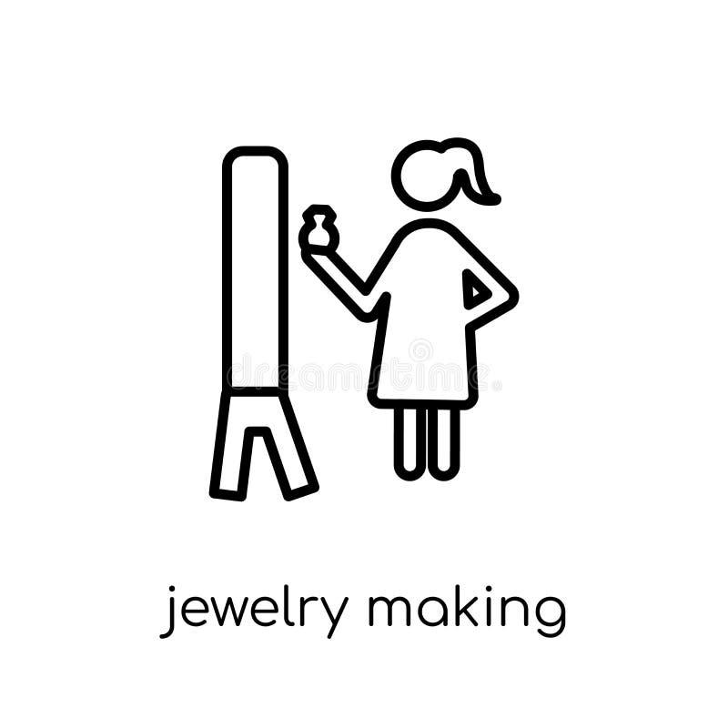 Biżuteria robi ikonie Modna nowożytna płaska liniowa wektorowa biżuteria ma royalty ilustracja