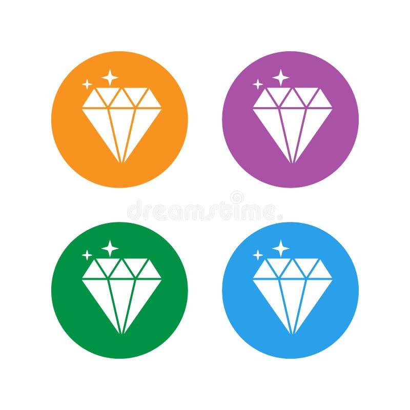 Biżuteria symbol Set Diamentowa ikona Wektorowa ilustracja, płaski projekt ilustracja wektor
