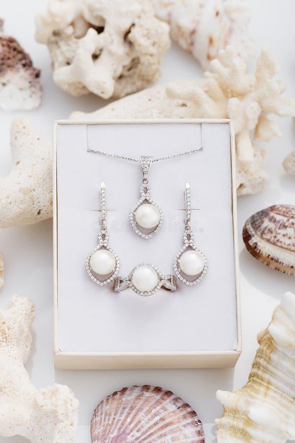 Biżuteria ustawiająca elegancki srebny kolczyków, pierścionku i breloczka necklac, fotografia stock