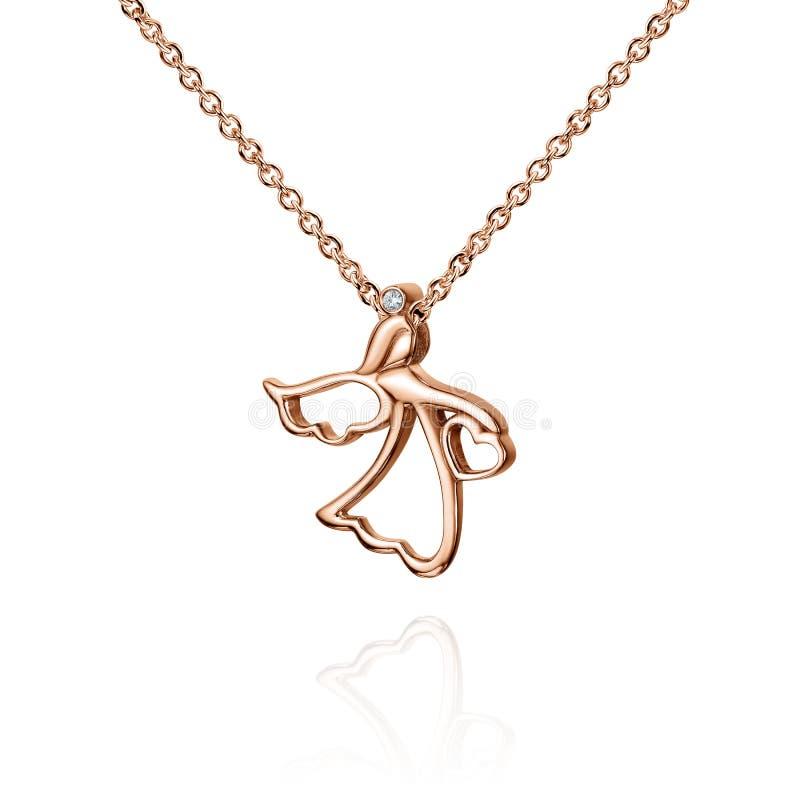 Biżuteria złoty breloczek z diamentem, anioł z skrzydłami, złoty łańcuch, różany złoto, odizolowywający na bielu zdjęcia royalty free