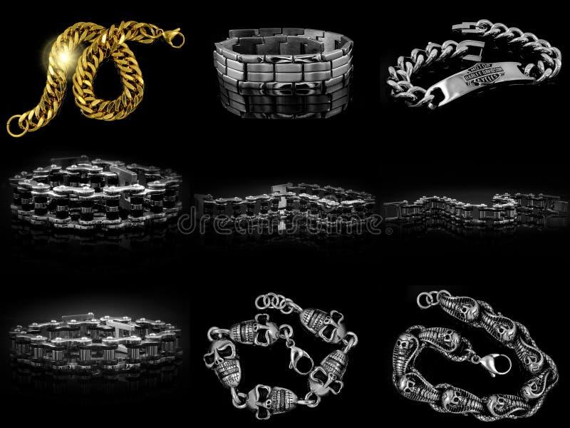 Biżuterii bransoletka dla mężczyzna Czaszki, krzyże i klasyk, 375 magna stal nierdzewna 04 obrazy stock