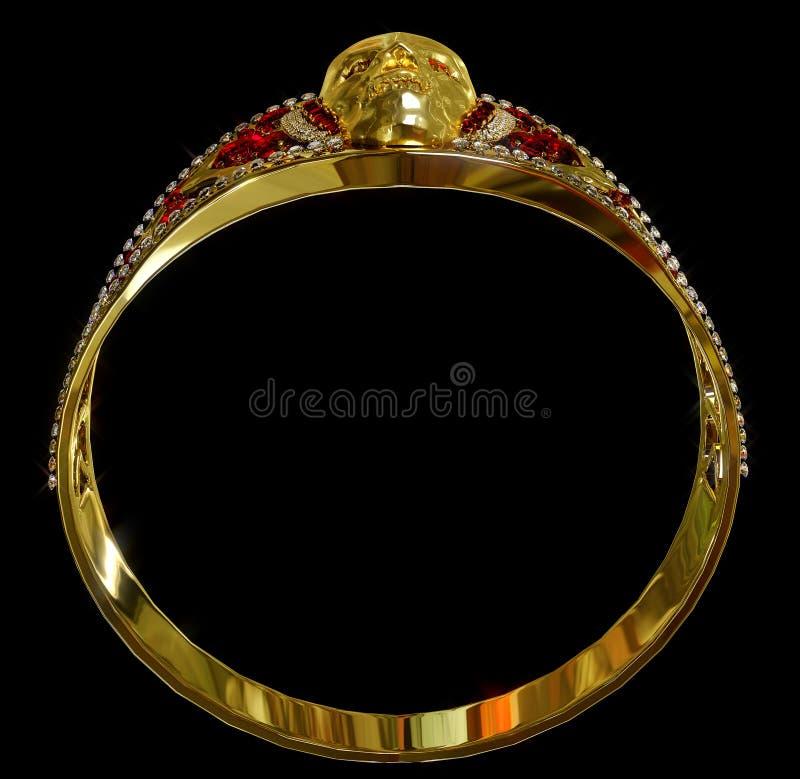 Biżuterii czaszki złocisty pierścionek z diamentowymi i czerwonymi rubinowymi klejnotami zdjęcia royalty free