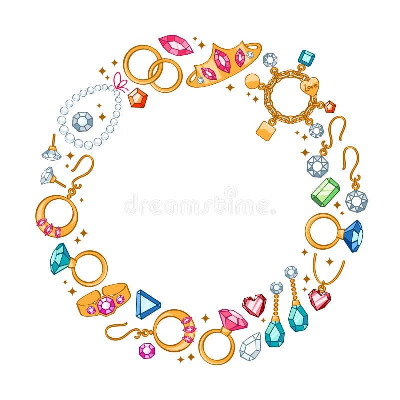 Biżuterii rzeczy round ramowy tło ilustracji