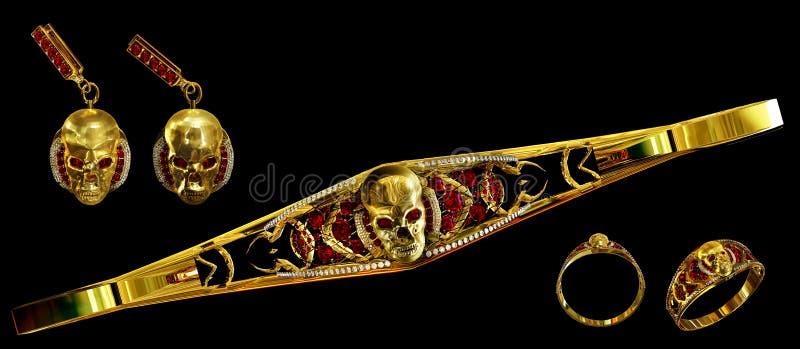 Biżuterii złocista czaszka ustawiająca z diamentowymi i czerwonymi rubinowymi klejnotami zdjęcie royalty free