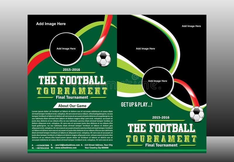 Bi-Falten-Fußball-Turnier-Broschüren-Schablone vektor abbildung