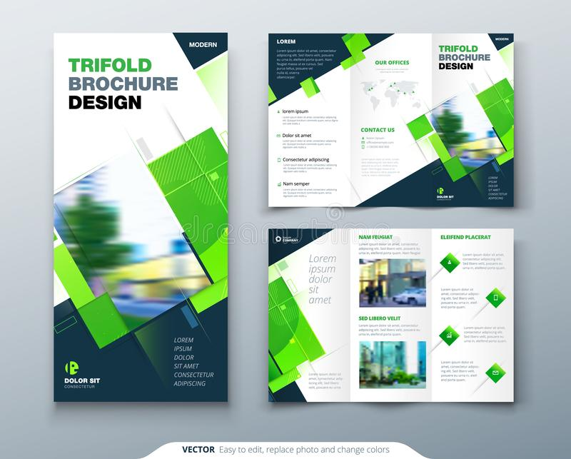 Bi fold brochure design with square shapes, corporate business template for bi fold flyer. Creative concept folded flyer. Green Tri Fold Brochure Design with stock illustration