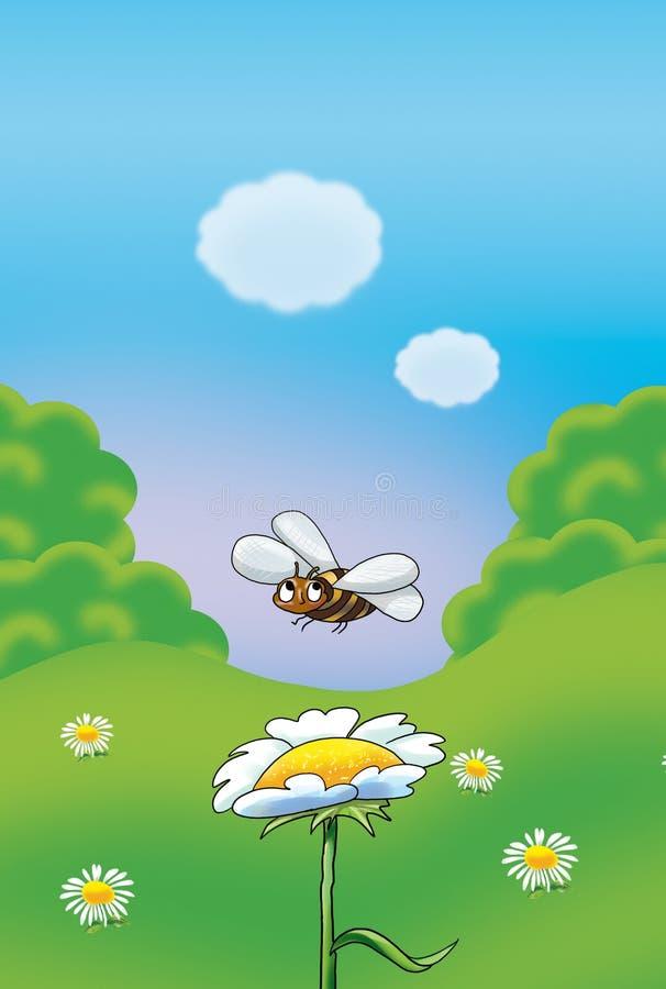 Bi och blomma vektor illustrationer