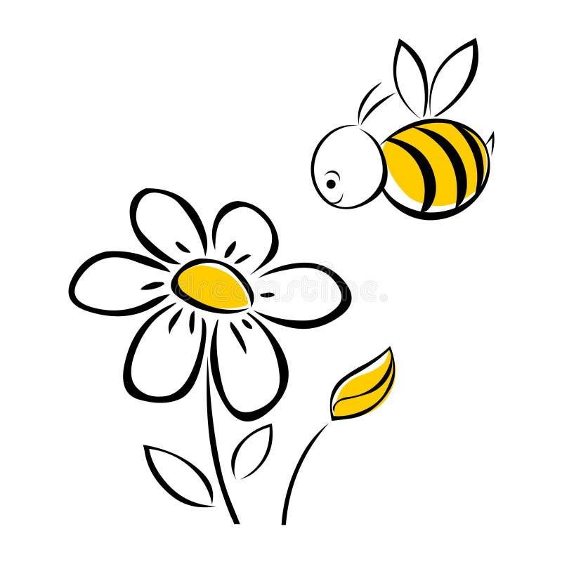 Bi och blomma stock illustrationer