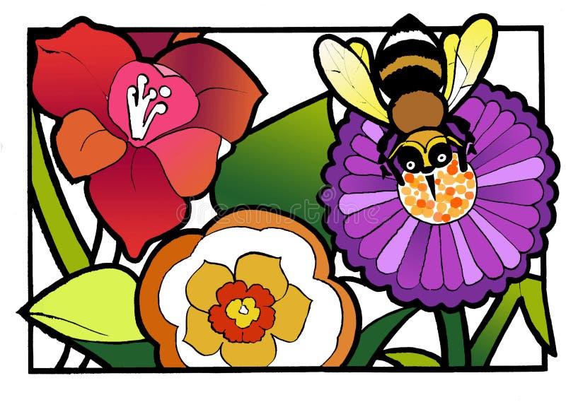 Bi och blommor stock illustrationer